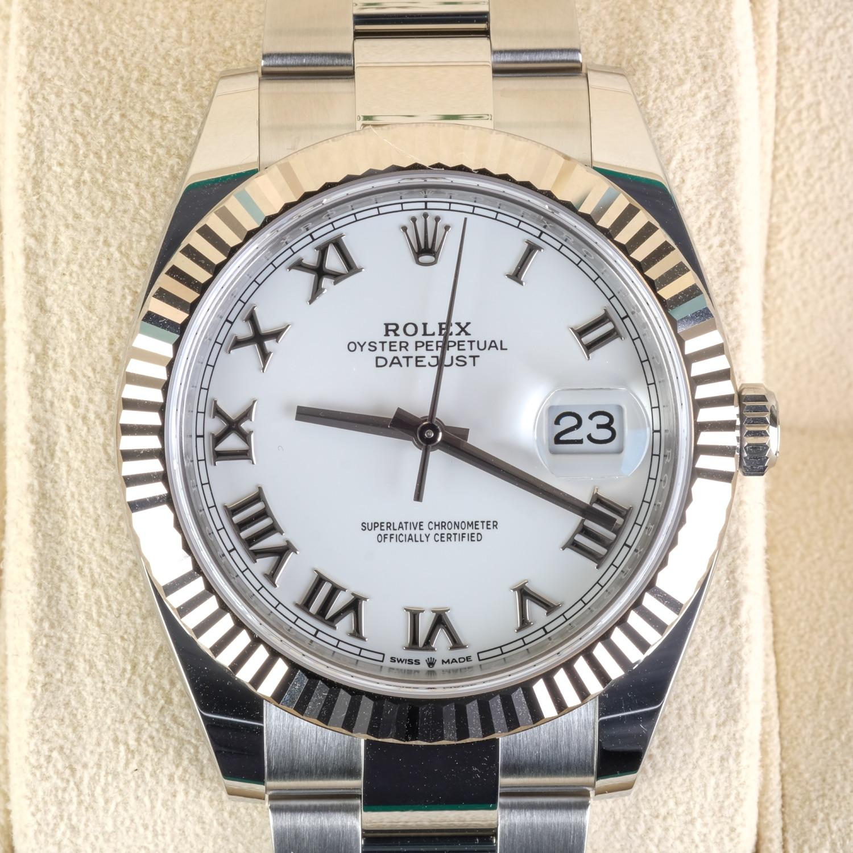 Rolex Datejust Roman Numeral White Dial N.I.B. & Un-sized 41mm Ref 126334