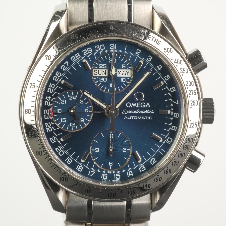 Omega Speedmaster Triple Date Blue Automatic Chronograph Ref 3523.80.00