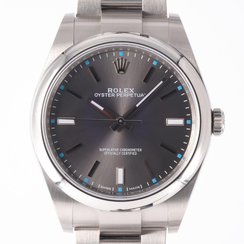 Rolex Oyster Perpetual Dark Rhodium 39mm 2020 Ref 114300